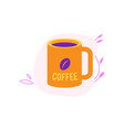cup of coffee in yellow and violet colors isolated vector image vector image