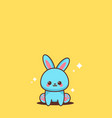 cute blue rabbit happy easter bunny sticker spring vector image