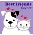 cute cat and dog best friends vector image