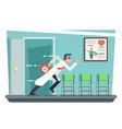 doctor running out consulting room door hurry vector image