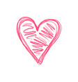 doodle isolated pink scribble heart symbol vector image vector image