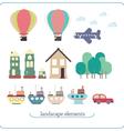 Elements for landscape Ship balloon plane vector image