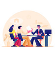 family couple man and woman taking bank loan or vector image