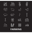 farming editable line icons set on black vector image vector image