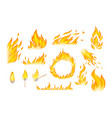flames red and orange hot flaming heat explosion vector image vector image
