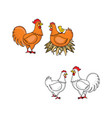 flat hand drawn rooster chicken set vector image vector image