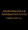 glitter gold alphabet font on black vector image