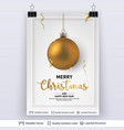 golden christmas ball and text on light background vector image vector image
