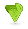 green triangular eco tag with inscription special vector image vector image