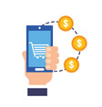 hand holding smartphone coins money dollar online vector image vector image