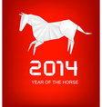 Holiday background for the year 2014 Origami horse vector image vector image