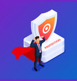 isometric data protection or superhero worker vector image