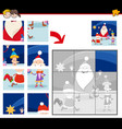 jigsaw puzzles with cartoon christmas characters vector image