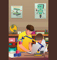 kids doing robotic experiment vector image