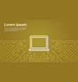 laptop computer icon over computer chip moterboard vector image vector image