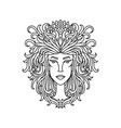 leo girl portrait zodiac sign for adult coloring vector image vector image