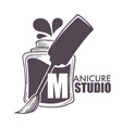 manicure studio bottle with brush and paint vector image