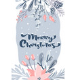 merry christmas greeting card design with floral vector image vector image