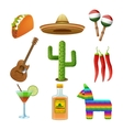 Mexican icons set flat vector image vector image