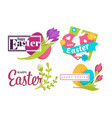 painted eggs and green branch easter holiday vector image vector image