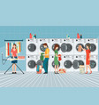 people in laundry room with row of industrial vector image