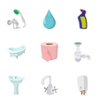 Plumbing icons set cartoon style vector image vector image