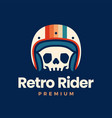 retro skull helmet rider motorcycle club logo icon vector image