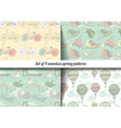Set of 4 vintage spring pattern vector image