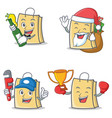 set of bag character with beer gift plumber winner vector image vector image