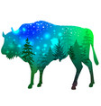 silhouette a bison with green forest and space vector image