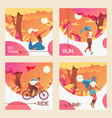 square cards with young girls riding vector image vector image