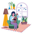 stay at home guy in living room with guitar vector image vector image