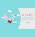 sweet desserts web banner or template vector image