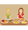 Thin and thick girl eating cartoon vector image