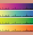 turin multiple color gradient skyline banner vector image vector image