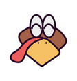 turkey head cartoon animal icon vector image
