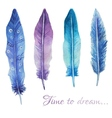 Watercolor print with feathers and romantic script vector image vector image