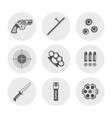 weapons and set of round silhouette icons vector image