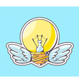 yellow lightbulb with wings flying on blu vector image vector image