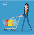 young woman walking with shopping cart vector image vector image