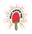 hello summer time strawberry ice cream vector image