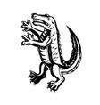 alligator standing scraperboard vector image vector image