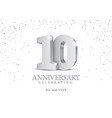 anniversary 10 silver 3d numbers vector image