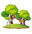 boys playing playgroud equipment vector image vector image