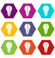 brain lamp icon set color hexahedron vector image vector image
