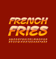 bright emblem french fries creative font vector image vector image
