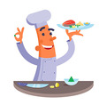 Cartoon chef holding plate with fish steak vector image vector image