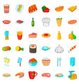 chef cooker icons set cartoon style vector image vector image