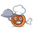 chef with food baket pie mascot cartoon vector image
