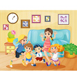 Children playing in the living room vector image vector image